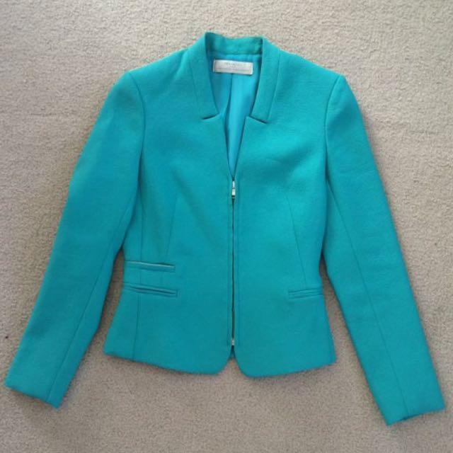 Zara Aqua Textured Blazer Jacket - Size XS