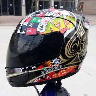[酷樂精品]黑撲克遊樂全罩安全帽 可拆洗(Monster ARAI OGK HJC M2R SOL SHOEI AGV)