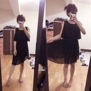 🚚 全新 無袖 縮腰 黑色 雪紡紗 洋裝