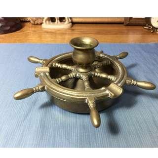 老銅器 vintage 歐洲早期銅器 煙灰缸 燭臺