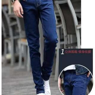 🚚 牛仔褲 加絨 窄管牛仔褲 27腰 深藍黑色各1