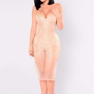 FASHION NOVA GOLD SPARKLE DRESS