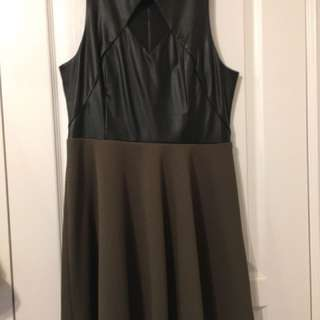 Marciano pleather olive dress
