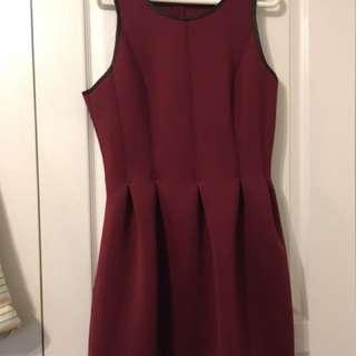 Club Monaco red dress with leather trim