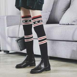張天愛同款靴子2017秋冬新款長筒靴過膝靴女套筒真皮襪子彈力靴潮