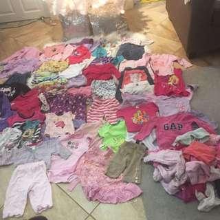 85 pieces baby girl clothes