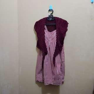 Maroon Dress & Bolero