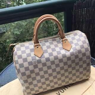Authentic Used Louis Vuitton Damier Azur Speedy30