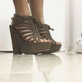 Suede Clunky Heels