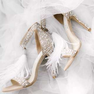 JIMMY CHOO Viola Crystal Wedding Heels Feather Shoes