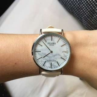 BNWT Genuine Leather White Marble Watch