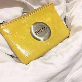 Mimco small yellow pouch clutch wallet