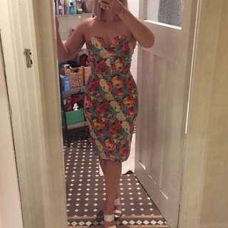 ASOS summer fruit strapless wiggle dress Sz 10