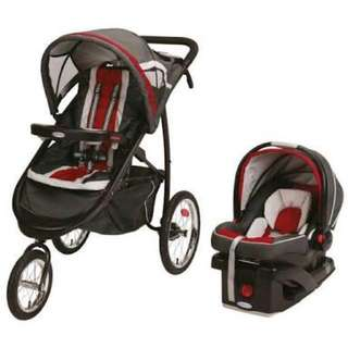 Graco FastAction Fold Jogger Click Connect Travel System in Chili Red