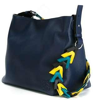100% Real 90%New Loewe V Bucket Bag - Blue