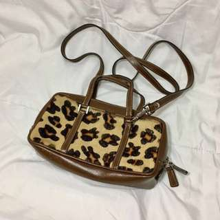 Genuine leather hair on hide Small sling bag / purse