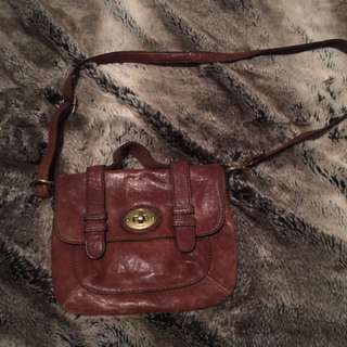 Leather fossil crossbody bag