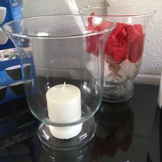 2x 20cm hurricane vases - as New.