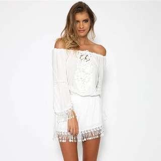 White Bohemian Off-The-Shoulder Mini Dress