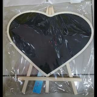 Decorative Blackboard with stand (Heart shape, with chalk)