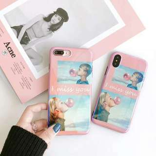 """""""I MISS YOU"""" Blue Ray Light Phone Case - iPhone 5/6/7/X"""