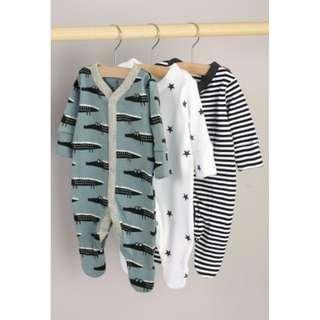 Blue/Monochrome Crocodile Sleepsuits 3 Pack