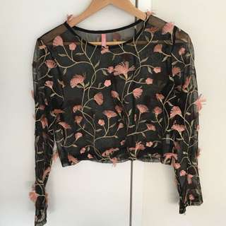 Boutique mesh top flowers