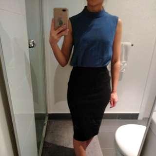 Blue high neck sleeveless top