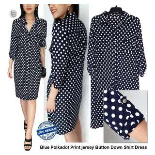 DRESSBARN Blue Polkadot Print jersey Button Down Shirt Dress / Dress jersey Polkadot Navy Button down