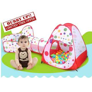 3 in 1 Kids Tent With Tunnel + FREE 10 pit balls