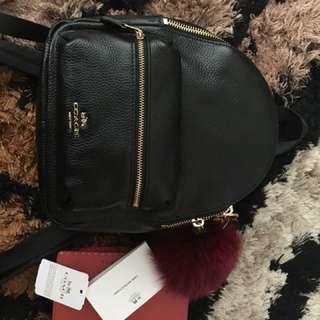 Coach charlie mini black leather backpack