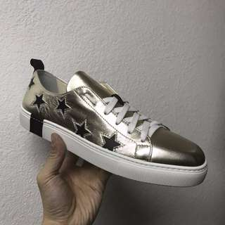 Le Village - Gold 'Star' Metallic Leather Sneakers