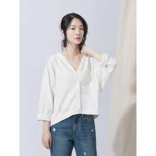 V領開襟寬鬆連袖襯衫