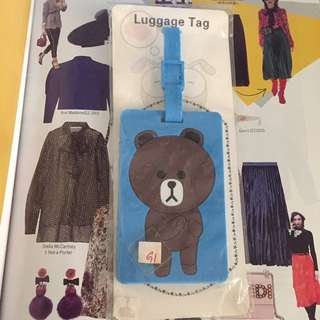 Line Brown bear Luggage Tag 熊大行李牌全新