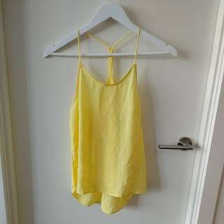 Yellow drape racerback top
