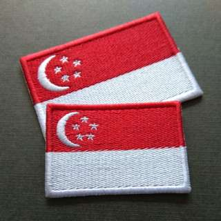 Classic Singapore Flag Iron On Patch Majulah!!