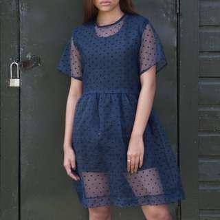 Jairus Sumineg Neoprene Dress with Sheer Overlay