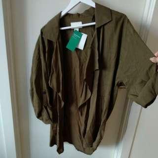 Drape khaki olive coat