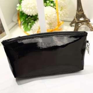 大特價 全新Christian Dior Beaute 黑色漆皮化妝袋 Black Makeup Pouch Bag