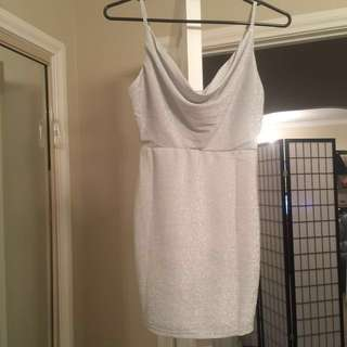 Blossom Stunning White Glitter Sparkle Bodycon Dress Size 8 BNWT