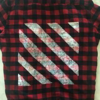 OFF-WHITE flannel DIY red