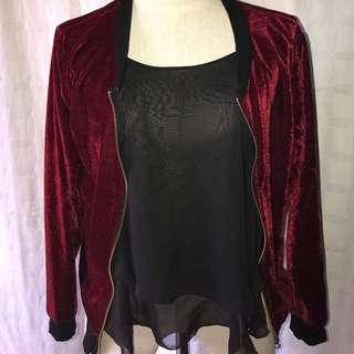 deep red velvet bomber jacket