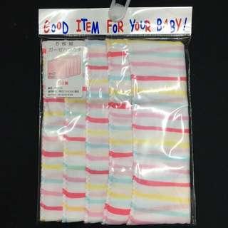 🚚 日本製 口水巾 條紋粉色 五入