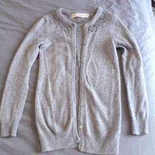 Zara Knit Grey Embellished Cardigan