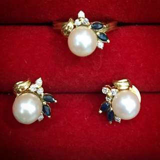 Set of 14 karat earrings and ring with diamonds and pearls