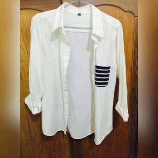 🚚 Vieso米白色口袋拼接外套