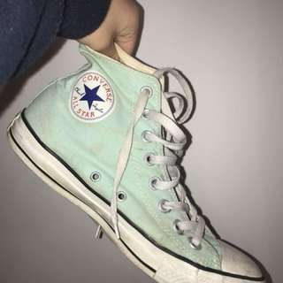 Turquoise high top converse