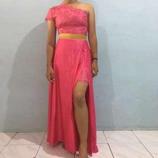 One Shoulder Pink Dress