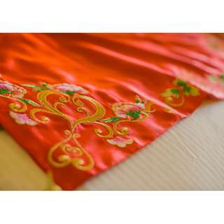 Bundle Buy! Chinese Wedding Veil with Lotus Flower Embroidery and Ring Holder