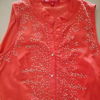 Sequin Button Up Orange Sleevless Top #SWAP